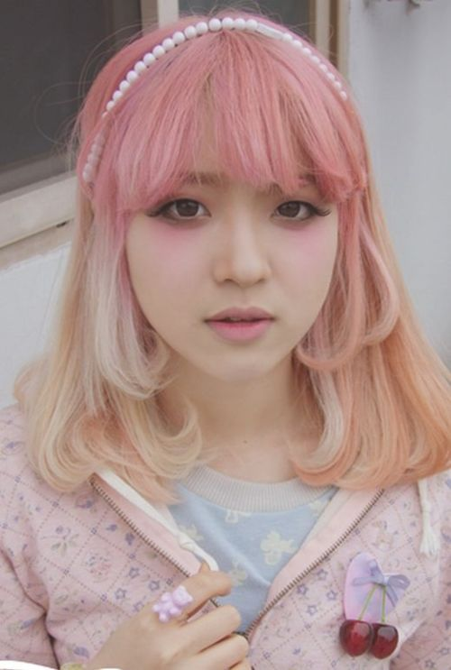 Kawaii Cute Dyed Hair Pink Blonde Japan Japanese Girl