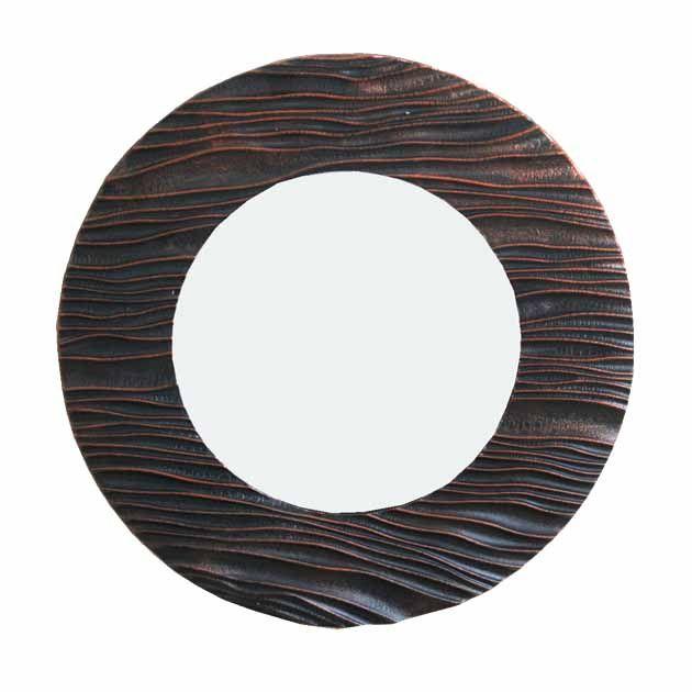 Καθρέφτης Στρογγυλός Καφέ/Μαύρος Ανάγλυφος 49εκ