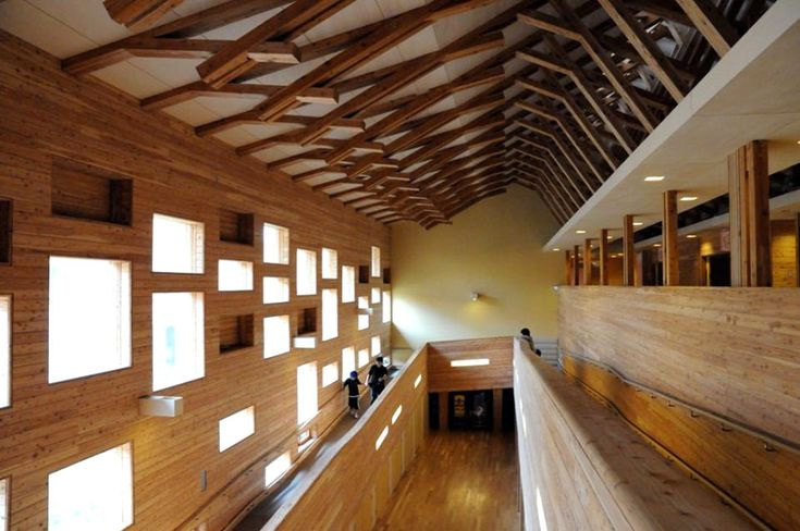 A Japanese school made of local wood using traditional japanese construction techniques. Designed by Atsushi Kitagawara Architects.