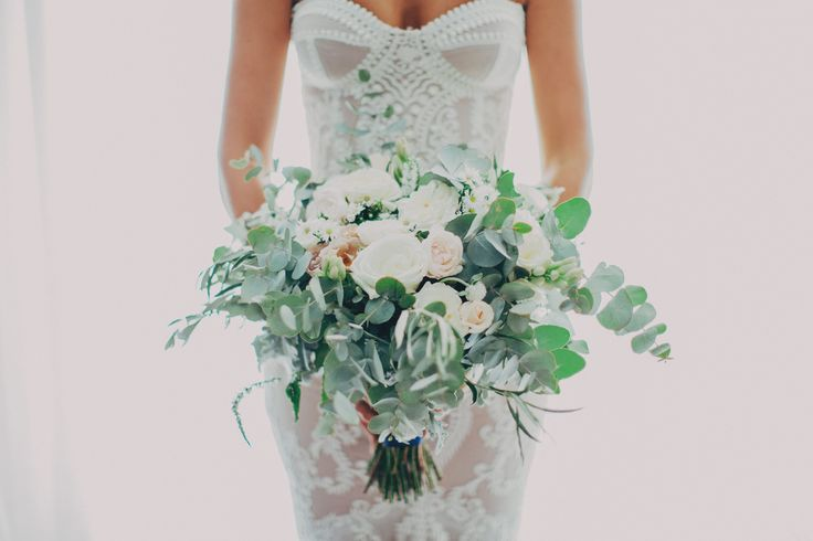Pastel bouquet with silvery native gum leaves, white + peach roses #floral #bouquet #gum #roses #pastel #green