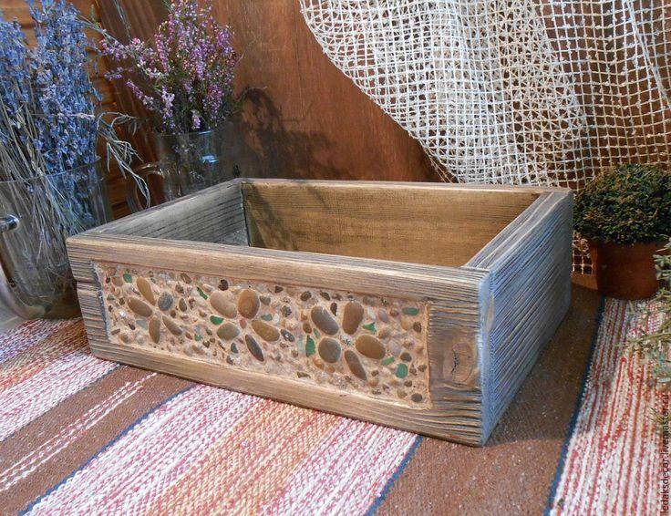 """Купить Деревянный ящик для хранения """"От самого синего моря...""""(мозаика,дерево - бежевый"""
