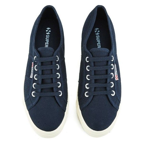 Superga Women's 2790 Linea Up Down Flatform Trainers - Navy (4.065 RUB) ❤ liked on Polyvore featuring shoes, sneakers, navy trainers, flatform trainers, superga, navy sneakers and flatform sneakers
