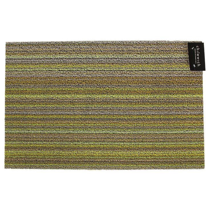 Discover the Chilewich Skinny Stripe Shag Rug - Citron - 46cm x 71cm at Amara