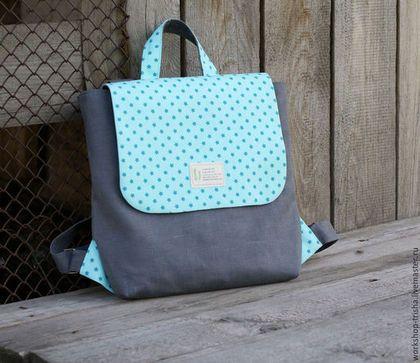 Рюкзаки ручной работы. Ярмарка Мастеров - ручная работа. Купить Городской рюкзак из льна и хлопка. Handmade. Мятный, рюкзак городской