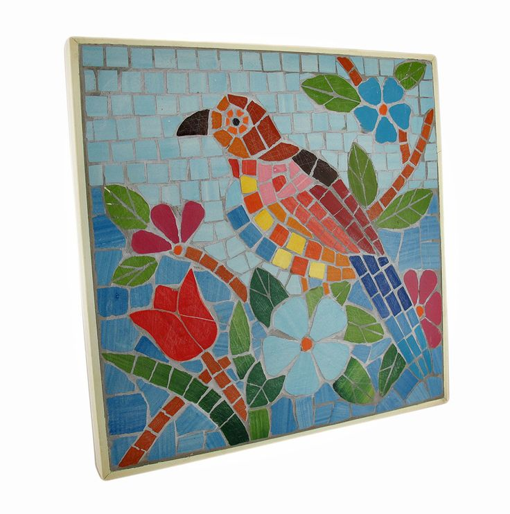 Tropical Mosaic Tile Parrot Wall Plaque - Zeckos