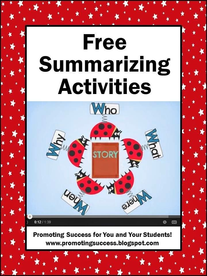 Summarizing Activities - This blogs has lots of FREE teaching ideas and activities.