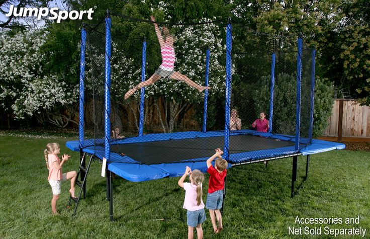 JumpSport Staged Bounce 10 x 17 Rectangular Trampoline is ideally suited for situations where space is at a premium. Its narrow profile makes it a good choice for side yard installations. The rectangular shape is preferred by some gymnasts to simulate their training environment. Either way the sturdy design of the Staged Bounce Rectangular Trampoline will provide tons of fun with the safety Jump Sport is known for!  Swing Set Paradise offers Professional Trampoline installers in your area!