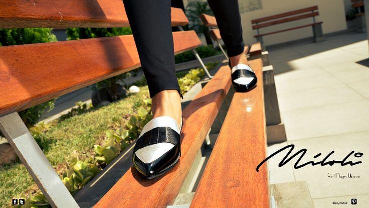 Loafer, plateado y negro, milolishoes