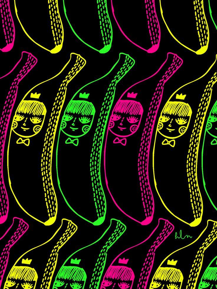 BANANA NEON BY.HELLENABASKARA #BANANA #NEON #HANDDRAWING #DOODLE #ILLUSTRATION #DESIGNGRAPHIC