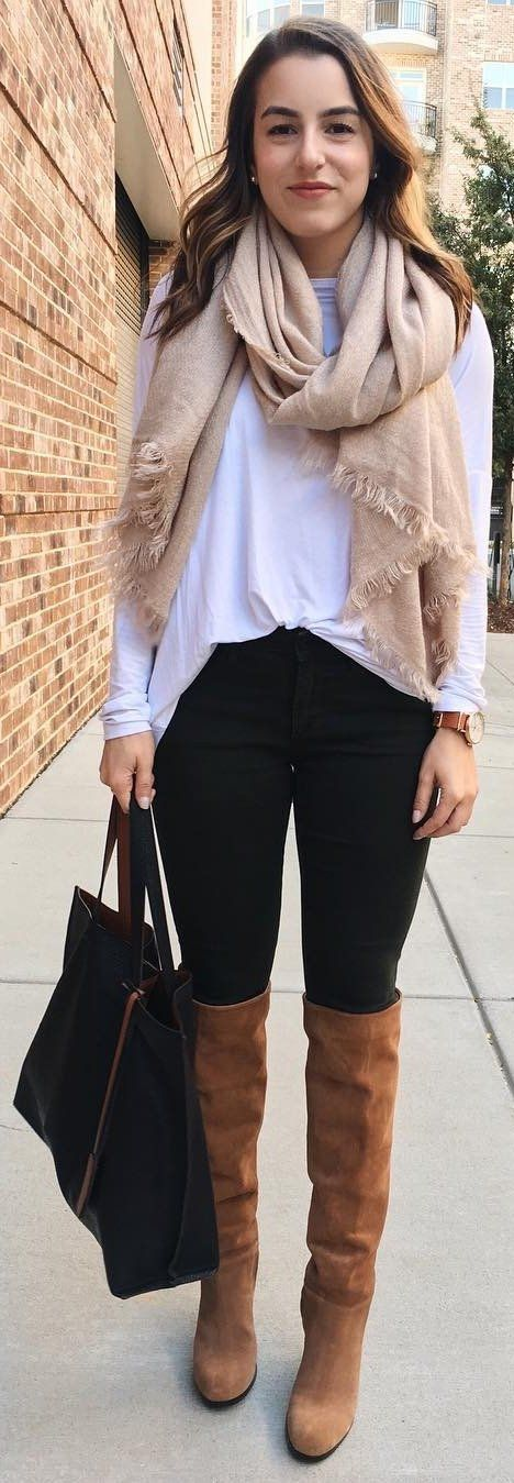 #winter #fashion / Camel OTK Boots + White Top + Tan Scarf + Black Jeans
