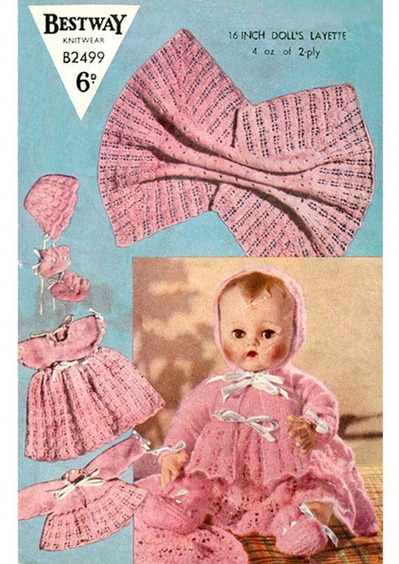 PDF Vintage 1950s Bestway B2499 Doll Clothes Knitting Pattern