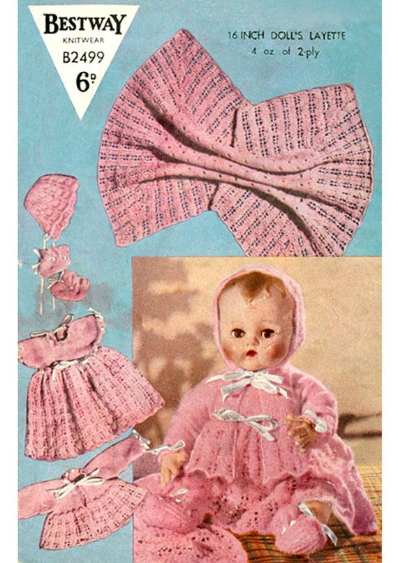 PDF Vintage 1950s Bestway B2499 Doll Clothes Knitting Pattern RARE Layette Blanket Dress Matinee Vest Pilch Antique Vintage Baby Doll