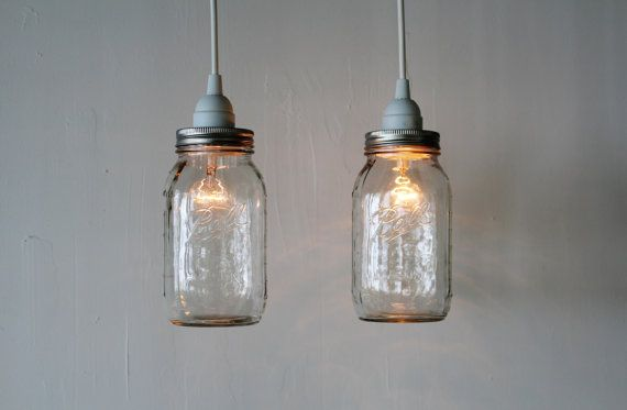 Pair of MASON JAR Hanging PENDANT Lights  Upcycled by BootsNGus