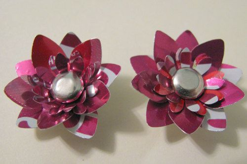 Upcycled Soda Can Post Earrings - Cherry Coke Cherry Coca Cola - Aluminum Can Jewelry - Upcycled Jewelry - Go Green Jewelry