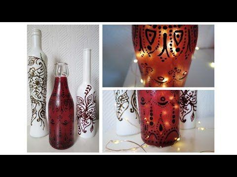 Flaschen bemalen * 2 Varianten * Painted Bottles DIY [eng sub] - YouTube
