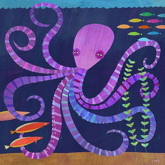 Eight Twisted Tentacles Octopus Canvas Art Print by twoems on Etsy, $99.00