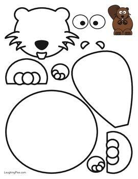 Coloring and cutouts of a cartoon beaver