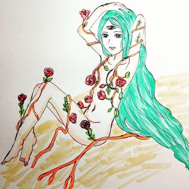 【rainbowkurione】さんのInstagramをピンしています。 《#illustrator #illust #illustration #rose #wood #妖精 #ニンフ #三つ目 #greenhair #つた #森 #心 #絡む #copic #土 #大地 #愛 #love #森林 #fairy …三つ目、とニンフ、描きたくなったの。》
