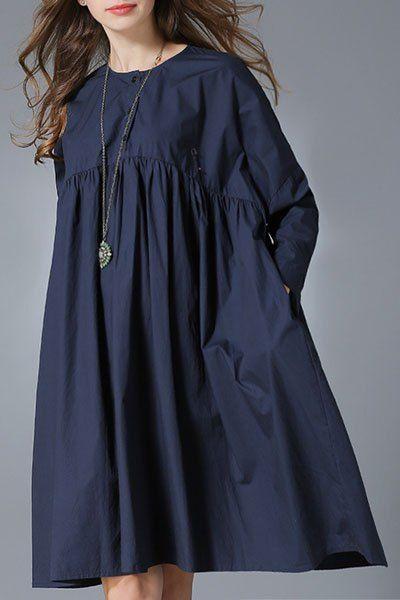 Pure Color Round Neck Long Sleeve Dress PURPLISH BLUE: Long Sleeve Dresses | ZAFUL