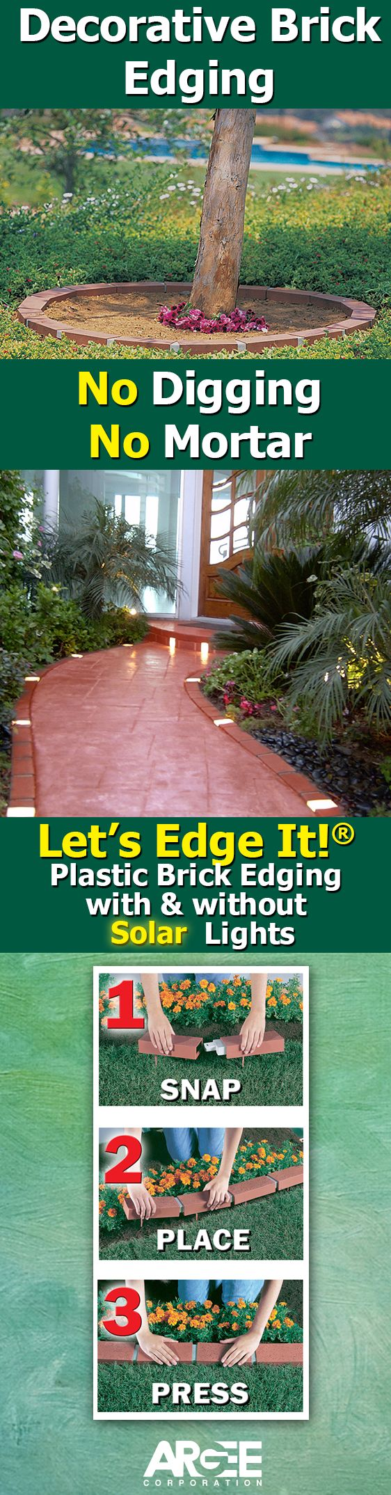 Let's Edge It!® Decorative Plastic Brick Edging with Solar Lights installs in minutes. Just snap together and press into ground.