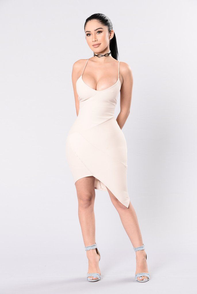 - Available in Dusty Pink and Taupe - Spaghetti Strap Dress - V Neckline - Geometric Hemline - Made in USA - 95% Polyester 5% Spandex