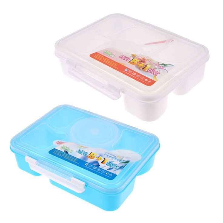 2017 New Kitchen Portable Microwave Bento Lunchbox 5 and 1 Food Container Storage Box Food Container Boxes 22*17*6cm