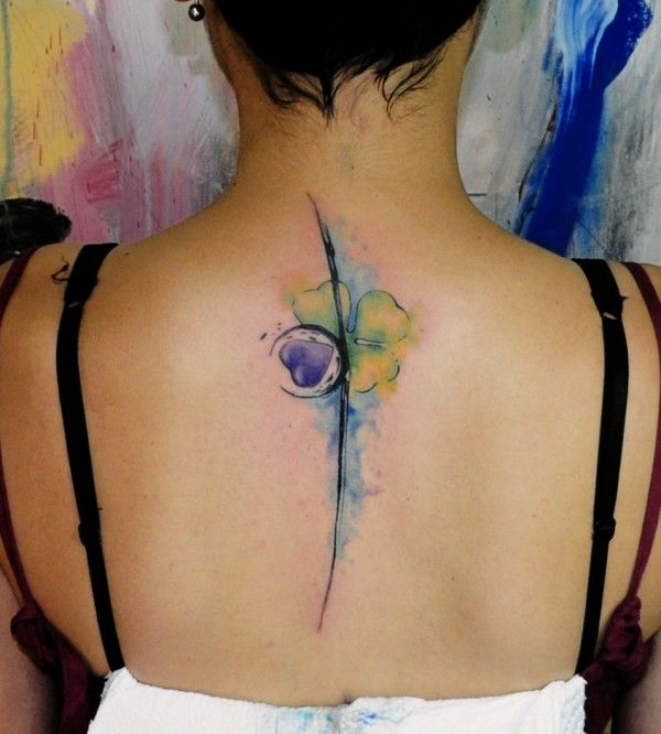 watercolor flower tattoo - girl, back