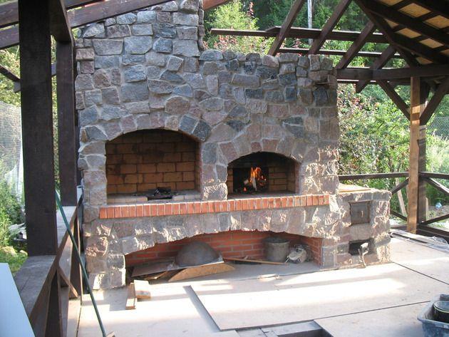 Camino da giardino e barbecue con mattoni refrattari