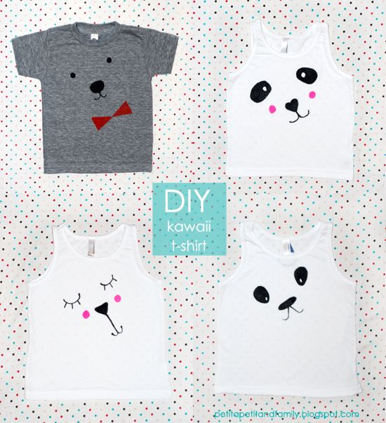 DIY: kawaii t-shirts with only fabric markers + free templates