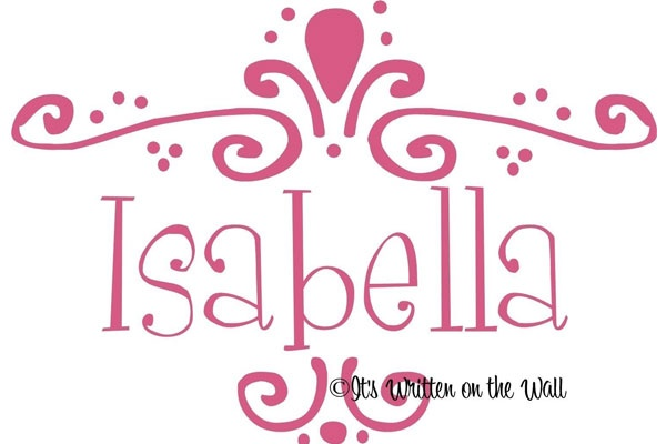 Isabella  (Italian, consecrated to God)   /// Top Australian Baby Names http://www.essentialbaby.com.au/pregnancy/baby-names/australias-top-100-baby-names-of-2012-20130416-2hx91.html /// Photo: etsy.com/shop/ItsWrittenOnTheWall