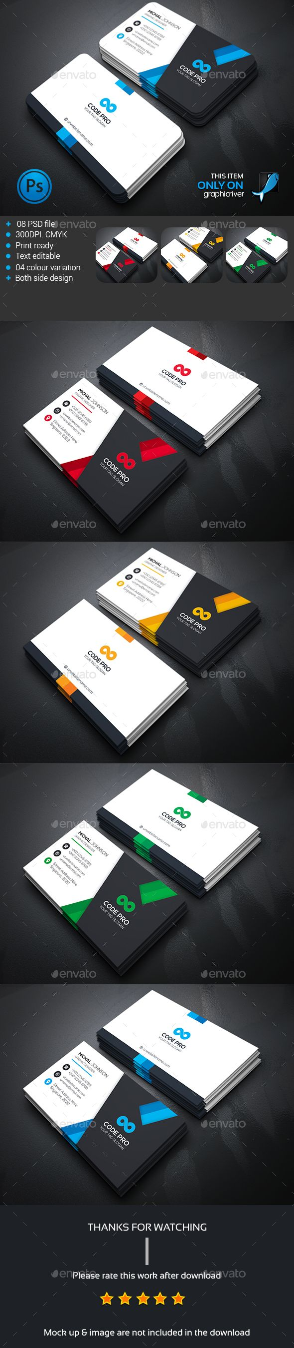 Modern Corporate Business Card Template PSD #design Download: http://graphicriver.net/item/modern-corporate-business-card/13831424?ref=ksioks