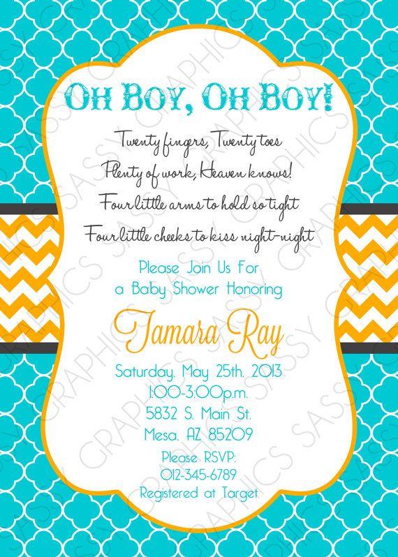 twin baby shower invitation baby boys itu0027s twins chevron turquoise blue orange oh baby itu0027s a boy diy printable invite pdf item 4