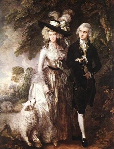 GAINSOROUGH,Thomas  Mr and Mrs William Hallett.1785  18세기 유럽의 모든 사회계층의 남성들은 코트를 입었다. 루이14세이후 스타일은 크게 변하지는 않았고, 상의와 조끼자락을 방수포 혹은 뻣뻣한 천이나 종이로하여 여성복의 스커트가 허리에서 튀어나온 것과 마찬가지로 옷자락이 엉덩이에서 튀어나오게 했다. 앞에 단추가 많이 달려있는 것이 특징이며, 벌려입어 아래 셔츠의 프릴장식, 소매부분 커프스장식, 화려한 웨이스트 코트가 보이도록 하는 것 역시 특징이다. 영국에서는 좀 더 캐주얼하고 실용적인 스타일이 유행했다. 프랑스의 귀족들이 호화로운 궁정생활을 했다면, 영국귀족들은 자신들의 영지에서 느긋하게 전원생활을  즐겼다. 당시 영국여성들이 드레스는 파니에 없이 엉덩이 부분에 패드된 버슬만을 입고 착용하는 로브로서 몸에 꼭 끼는 바디스로 가슴을 강조했다. 그리고 스카프를 목 주변에 덮었고, 18세기 후반으로 넘어가면서 모자가 유행하게 되었다.