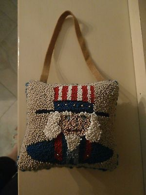 PUNCH NEEDLE Uncle Sam USA AMERICANA~CUPBOARD PILLOW HANGER~ ORNAMENT