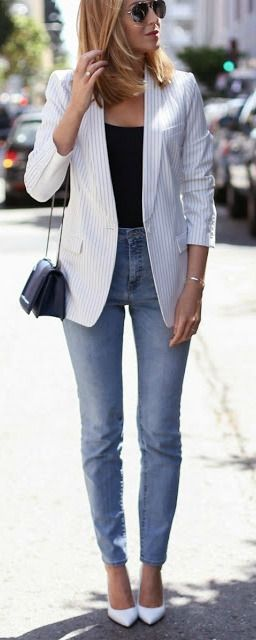 Striped blazer + white heels.