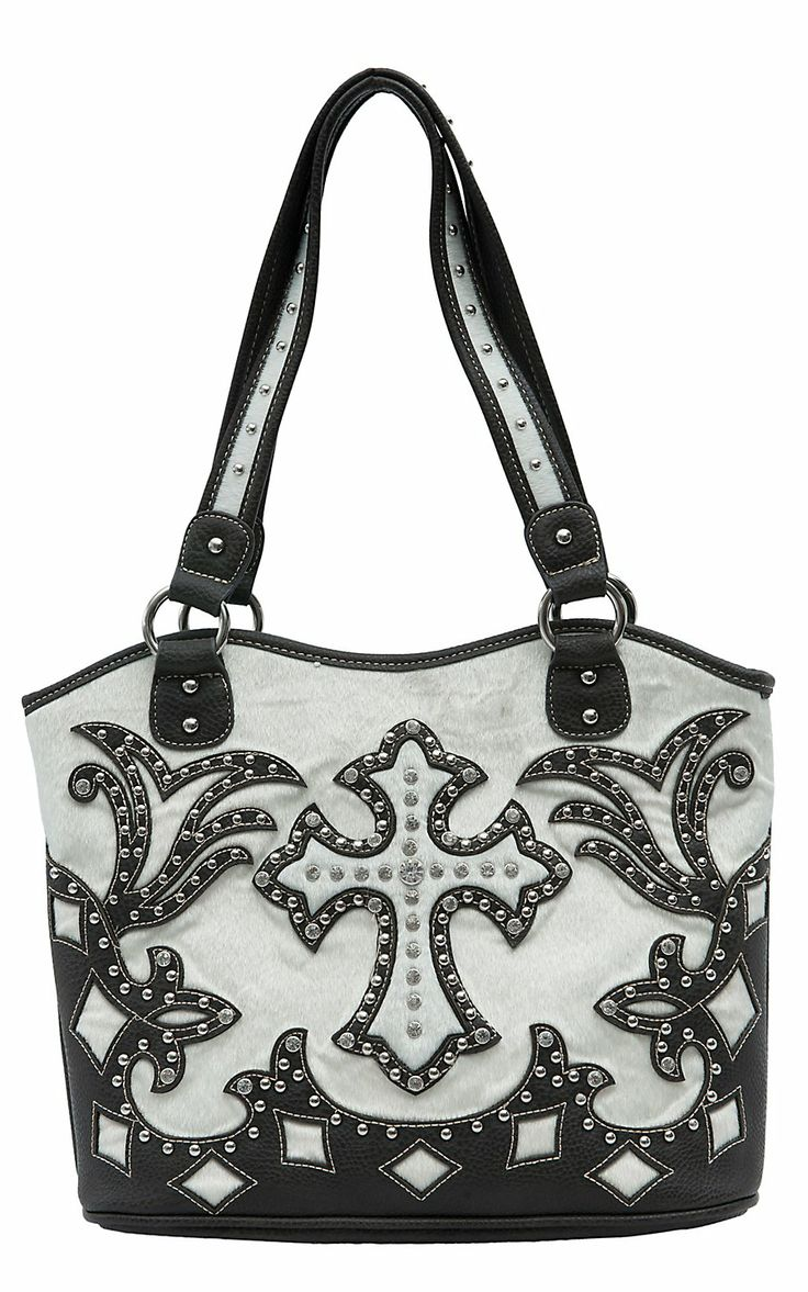 Blazin Roxx Ladies Cream Faux Cowhide with Brown Cross Overlay & Crystals Bucket Bag