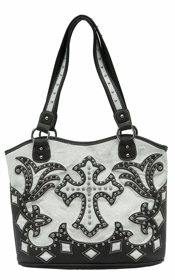 Blazin Roxx Ladies Cream Faux Cowhide with Brown Cross Overlay & Crystals Bucket Bag