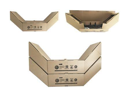 Imballaggio per trasporto paraurti auto: nel settore dell'automotive c'è la necessità di creare un imballaggio in cartone in grado di migliorare i trasporti e ottimizzare lo stoccaggio, consentendo ai clienti di offrire un paraurti in metallo trasportato e confezionato solo con un pack di carta.