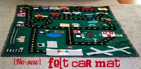 Fabulous idea for a little boy for Christmas...a felt floor mat (that is no sew), for them to drive hot wheels around and make up stories about....could be done as town, or your own neighborhood with their school, church, favorite store or ice cream place, or a country farm with barn and animals and small tractors instead of hot wheels....  Cute!