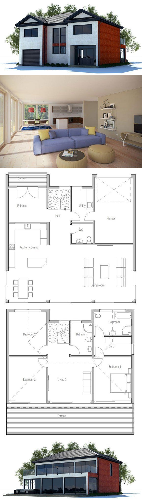 Modern House Plan with large windows, two living areas, three bedrooms. Floor Plan from ConceptHome.com