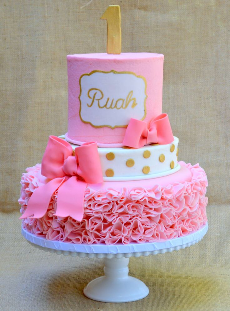 Pink And Gold Ruffle Cake on Cake Central