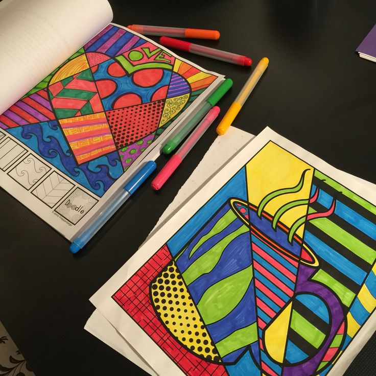 """Adult coloring pages. These fun, """"Pop Art""""-themed coloring sheets offer a different approach to adult coloring that puts you in control of the final design. Through the unique interactive elements, you become the primary artist/designer of the coloring pages! Simple, engaging, challenging, and best of all, fun and relaxing!"""