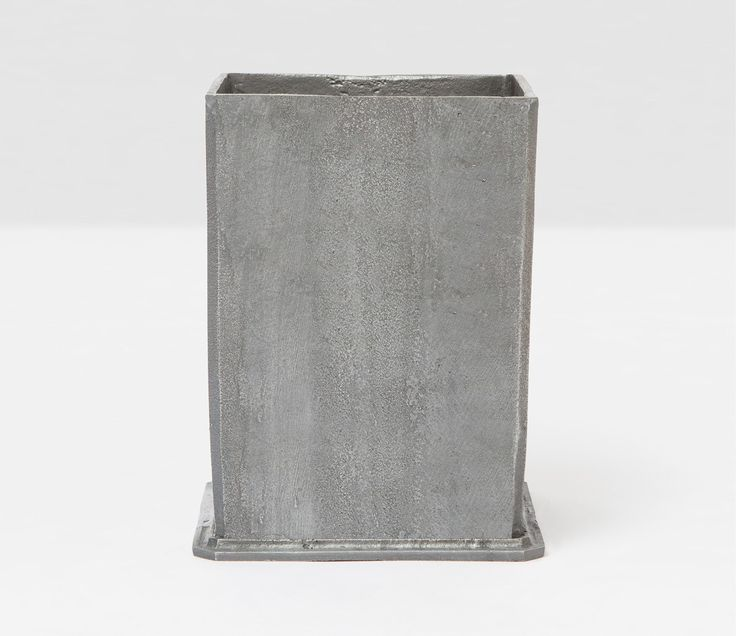Pigeon & Poodle Porto Square Wastebasket in Pewter Aluminum and Optional Tissue Box from The Well Appointed House