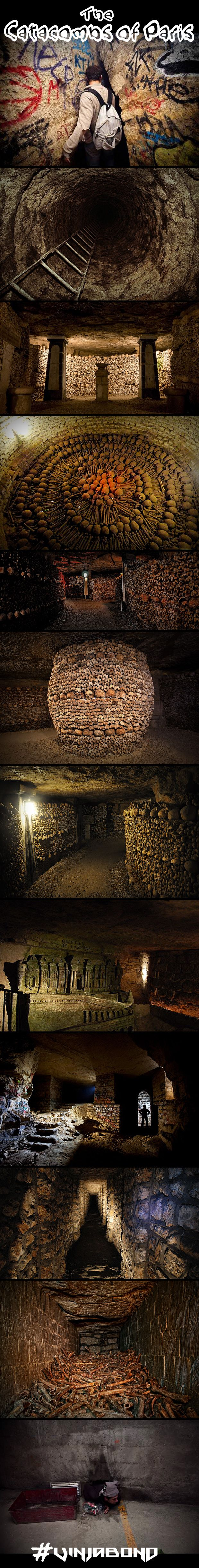 The Catacombs of Paris Experience - Hidden beneath the streets of Paris is 6 million of the dead...and undead! #paris #spooky