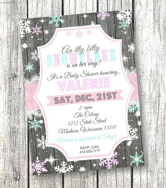 Baby Shower Invitation Winter Wonderland Snowflake Printable