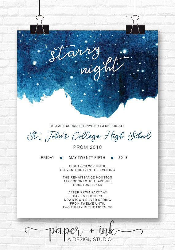 Night Sky Wedding Invitation Starry Night Invitation Full Suite Double Sided Printed Version Night Sky Wedding Starry Wedding Starry Night Wedding