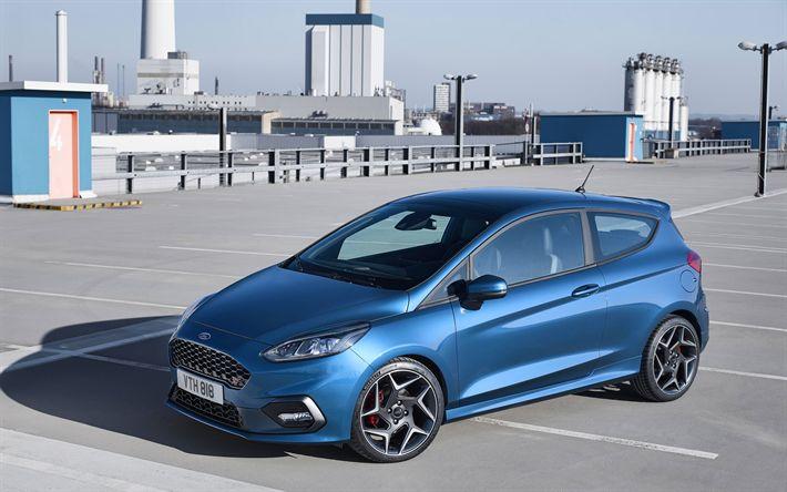 Descargar fondos de pantalla Ford Fiesta ST, 4k, el hatchback de 2018 coches, coches compactos, azul Fiesta, Ford