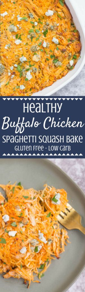 This Healthy Buffalo Chicken Spaghetti Squash Casserole is the perfect quick weeknight dinner. Low in carbs, but full on flavor - it's gluten free and SO delicious!