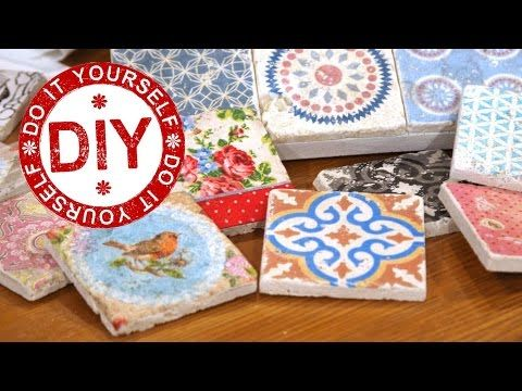 DIY: Vintagefliesen - Variante #2 (Fototransfer + Serviettentechnik) - YouTube
