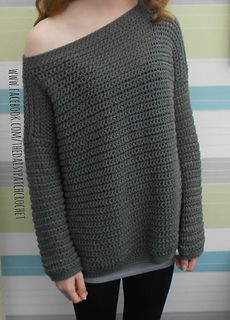 This is a PDF crochet pattern for an off the shoulder sweater. This is an over-sized sweater that you will find both comfortable